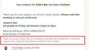 Venue Enquiry Email Template Emails Texts Automated Email Template Examples