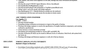 Verification Engineer Resume asic Verification Engineer Resume Samples Velvet Jobs