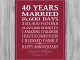 Verse for Ruby Wedding Anniversary Card 40th Anniversary Poems