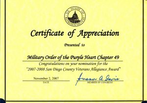 Veterans Appreciation Certificate Template 8 Best Images Of Veterans Certificate Of Appreciation