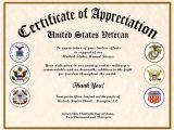 Veterans Appreciation Certificate Template Certificate Of Appreciation Veterans Gallery Certificate