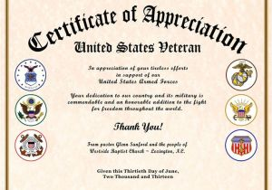 Veterans Appreciation Certificate Template Certificate Of Appreciation Veterans Gallery Certificate
