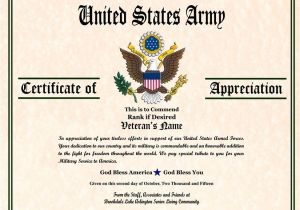 Veterans Appreciation Certificate Template Military Veterans Appreciation Certificates Veterans Day