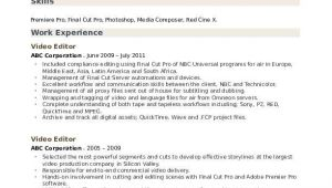 Video Editor Resume Sample Video Editor Resume Samples Qwikresume