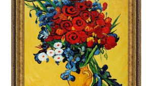 Vincent Van Gogh Happy Birthday Card Still Life Red Poppies and Daisies 20 X26 On Canvas Vincent