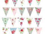 Vintage Bunting Template Printed Wafer Paper A4 Sheets Floral Buntings Baking and