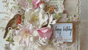 Vintage Style Birthday Card Handmade Shabby Chic Happy Birthday Card Vintage Karten
