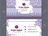 Visiting Card Background Eps File Free Download Business Card or Visiting Card Template with Boho Style Pattern