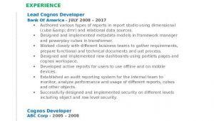 Visual Basic 6.0 Developer Resume Cognos Developer Resume Samples Qwikresume