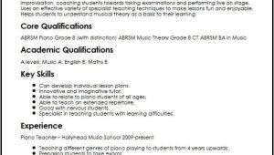 Vocal Student Resume Piano Teacher Cv Sample Myperfectcv