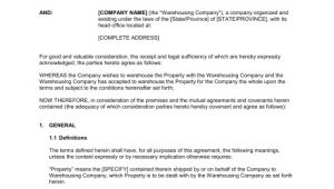 Warehouse Contract Template Warehousing Agreement Template Sample form Biztree Com
