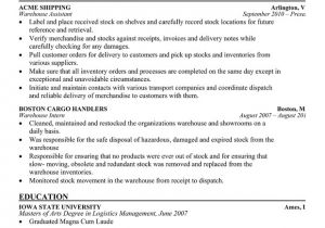 Warehouse Resume Templates Resume format Resume format Latest for Warehouse