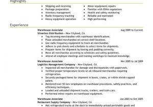 Warehouse Resume Templates Warehouse associate Resume Examples Created by Pros