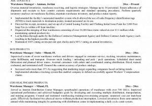 Warehouse Resume Templates Warehouse Manager Resume