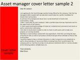 Wealth Management Cover Letter Sample asset Manager Cover Letter