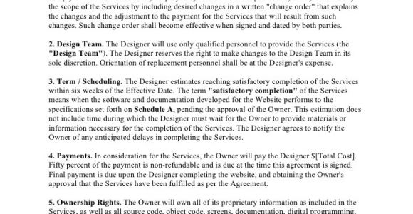 Website Ownership Contract Template Website Design Agreement Template