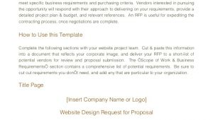 Website Request for Proposal Template Website Design Rfp Template