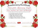 Wedding Anniversary Certificate Template Anniversary Certificate