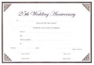 Wedding Anniversary Certificate Template Ccn Certificate Samples