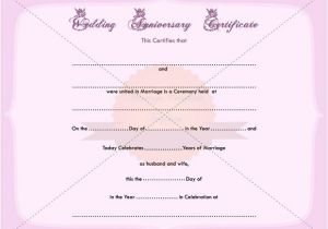 Wedding Anniversary Certificate Template Wedding Anniversary Certificate Printable Template