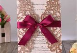 Wedding Card and Gift Box Us 67 0 50pcs Rose Gold Glitter Laser Cut Wedding Invitation Cards with Burgundy Ribbon and Envelopes for Bridal Shower Engagement Party Cards