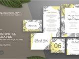 Wedding Card Name Sticker format Word Tropical Leaves Wedding Invitation Creative Wedding