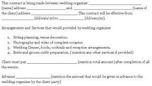 Wedding Decorator Contract Template Wedding Contract Template Sample Templates Pinterest