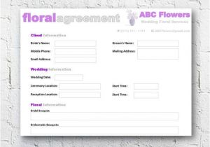 Wedding Flower Contract Template Florist Bridal Wedding Agreement Floral Business Contract