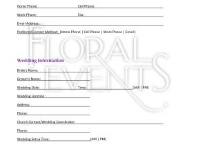 Wedding Flower Contract Template Florist Wedding Contract for Posies Poms In 2019