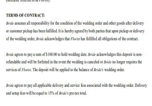 Wedding Flower Contract Template Sample Wedding Contract Agreements 9 Examples In Word Pdf