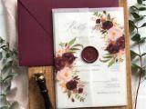 Wedding Invitation Card Flower Design Marsala Floral Translucent Wedding Invitation Love Of