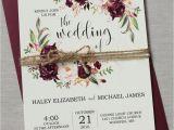 Wedding Invitation Card Flower Design Marsala Wedding Invitation Printable Suite Burgundy Pink