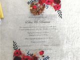 Wedding Invitation Card Flower Design Us 13 0 2018 Luxury Custom Colorful Printing Clear Acrylic Card Wedding Invitation Card Printed with Burgundy Red Flower Cards Invitations