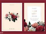 Wedding Invitation Card Red Background Design Download Premium Vector Of Flower Wedding Invitation Card