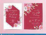 Wedding Invitation Card Red Background Design Elegant Floral Wedding Invitation Template Set Red