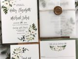 Wedding Invitation Card with Name Editing Greenery Floral Wedding Invitation Vellum Wrap with Gold