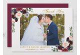 Wedding Thank You Card Zazzle Burgundy Blue Floral Gold Wedding Photo B Thank You Card