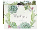 Wedding Thank You Card Zazzle Watercolor Desert Cactus Succulents Wedding Thanks Thank You