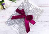 Wedding Wrapping Paper Card Factory Groa Handel Elegante Silberne Glitter Laser Schnitt Einladungs Karten Mit Burgunder Bandern Fur Die Heirat Des Brautparty Verlobungs Geburtstags