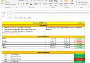 Weekly Update Email Template One Page Project Status Report Template A Weekly Status