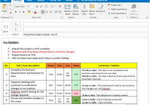 Weekly Update Email Template Project Status Update Email Sample Templates and