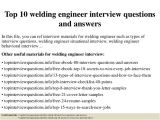 Welding Engineer Resume Pdf top 10 Welding Engineer Interview Questions and Answers