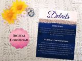 What to Include On Details Card Wedding Navy and Blush Wedding Details Card Stylish Affordable