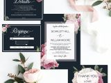 What to Include On Details Card Wedding Printable Wedding Invitation Set Navy Wedding Invites Pink