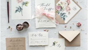 What to Put In A Wedding Card Calligraphy Floral Wedding Invitations with Envelopes Liners