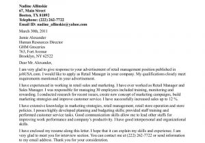 What to Write In A Cover Letter for Retail Cover Letter Example for Retail the Letter Sample