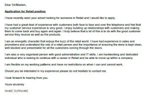What to Write In A Cover Letter for Retail Retail Cover Letter Example Icover org Uk