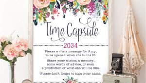 What to Write On A Flower Card for A Girl You Like Time Capsule Floral Baby Shower Table Sign Decoration Girls