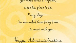 What to Write On Admin Professional Card Lucky to Work with You Administrative Professionals Day Card