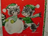 When is the Christmas Card On Hallmark Unused 2 Full Images Cats Play In Snow Snowman 40 S